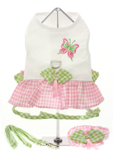Butterfly Harness Dress, Lead & Hat - This adorable couture dress has a gathered pink gingham outer skirt and a green gingham tulle underskirt. We've adorned the waistline with little green gingham leaves, pink satin bows and embroidered a colourful butterfly on the body. It has a sturdy reinforced D-Ring and a double sized / double str...