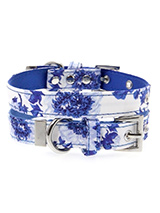 Blue Floral Bouquet Fabric Collar - Our Floral Bouquet pattern collar is a rich contemporary style and the floral pattern is right on trend. It is lightweight and incredibly strong. The collar has been finished with chrome detailing including the eyelets and tip of the collar. A matching lead, harness and bandana are available to purc...