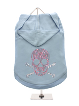 GlamourGlitz Skull & Crossbones Dog Hoodie - Exclusive GlamourGlitz 100% Cotton Hoodie. Embellished with a Skull and Crossbones design and crafted with Pink and Silver Rhinestuds that catch a sparkle in the light. Wear on it's own or match with a GlamourGlitz ''Mommy and Me'' Women's T-Shirt to complete the look.