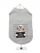 ''Police Mugshot - Shih Tzu'' Harness-Lined Dog T-Shirt
